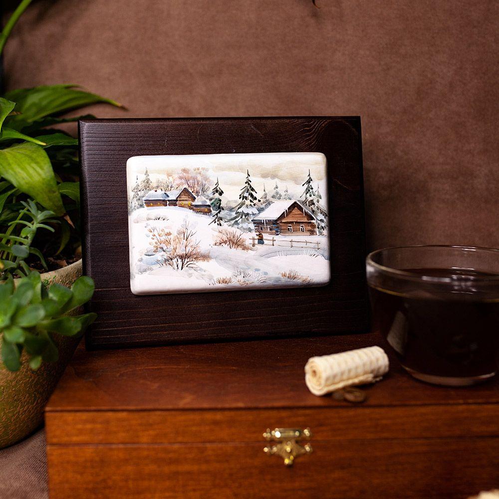 Пластина на деревянной плашке с росписью на заказ фото