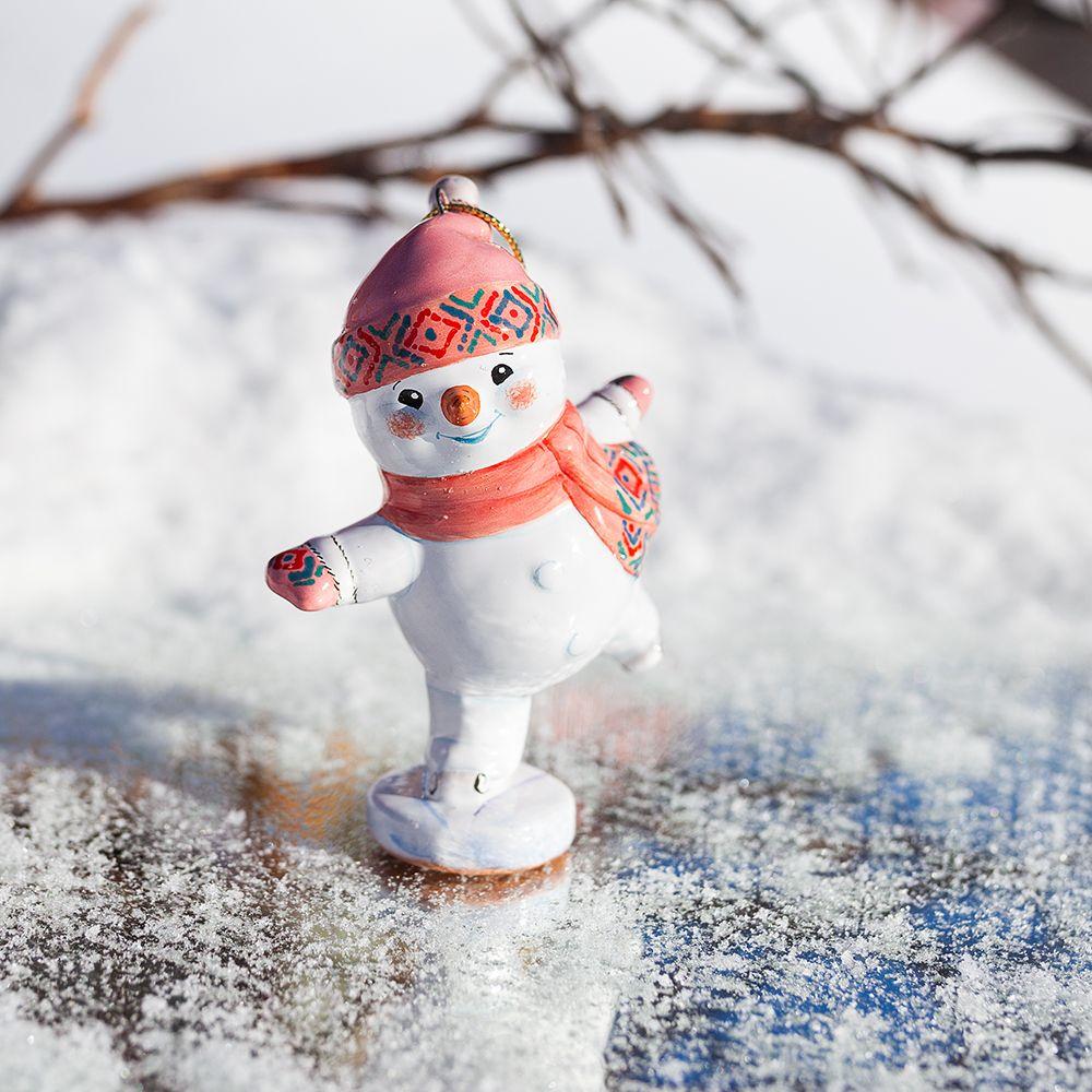 Снеговик-конькобежец фото
