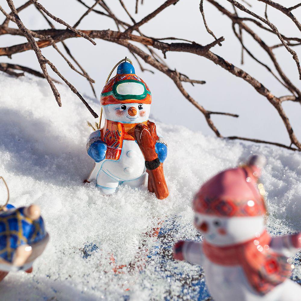 Снеговик-лыжник фото