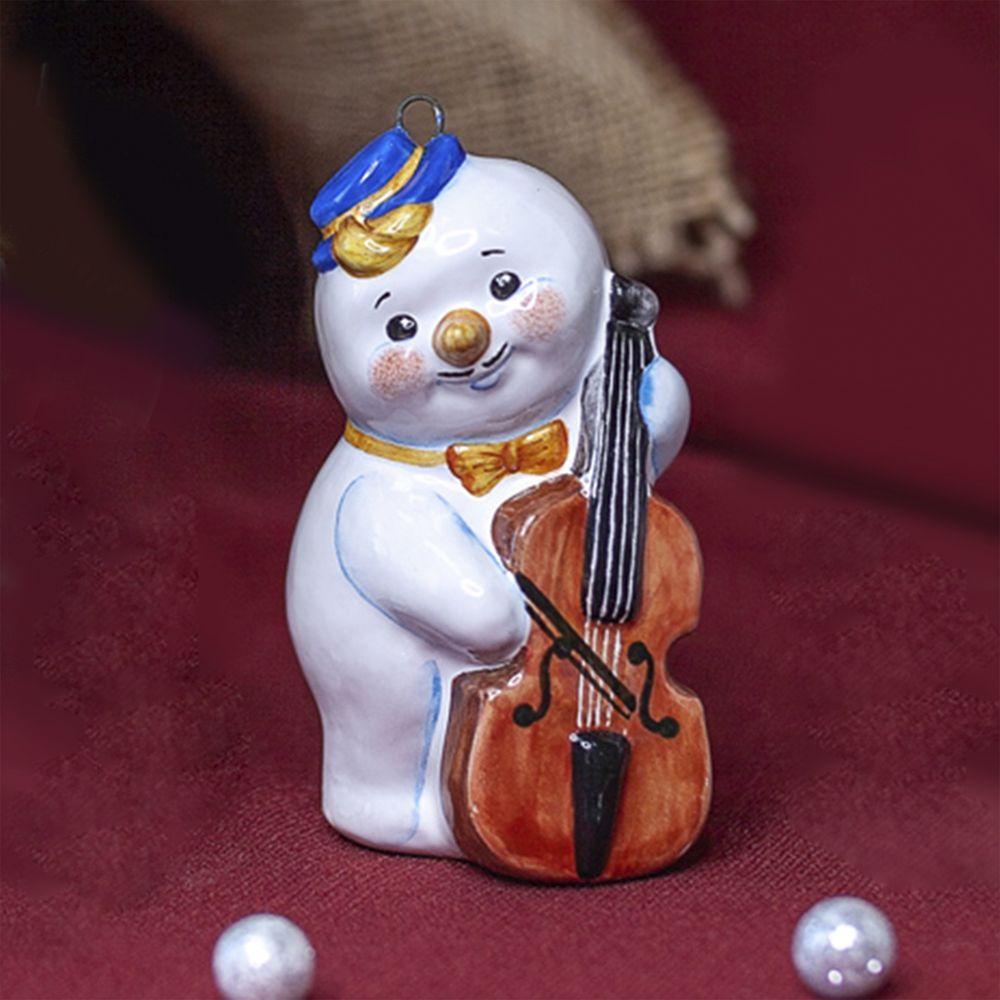 Снеговик-музыкант с контрабасом фото