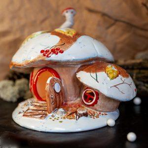 Подсвечник-грибной домик (зимняя роспись) фото
