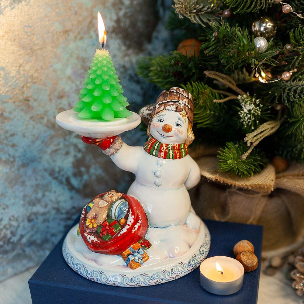 Подсвечник-Снеговик фото