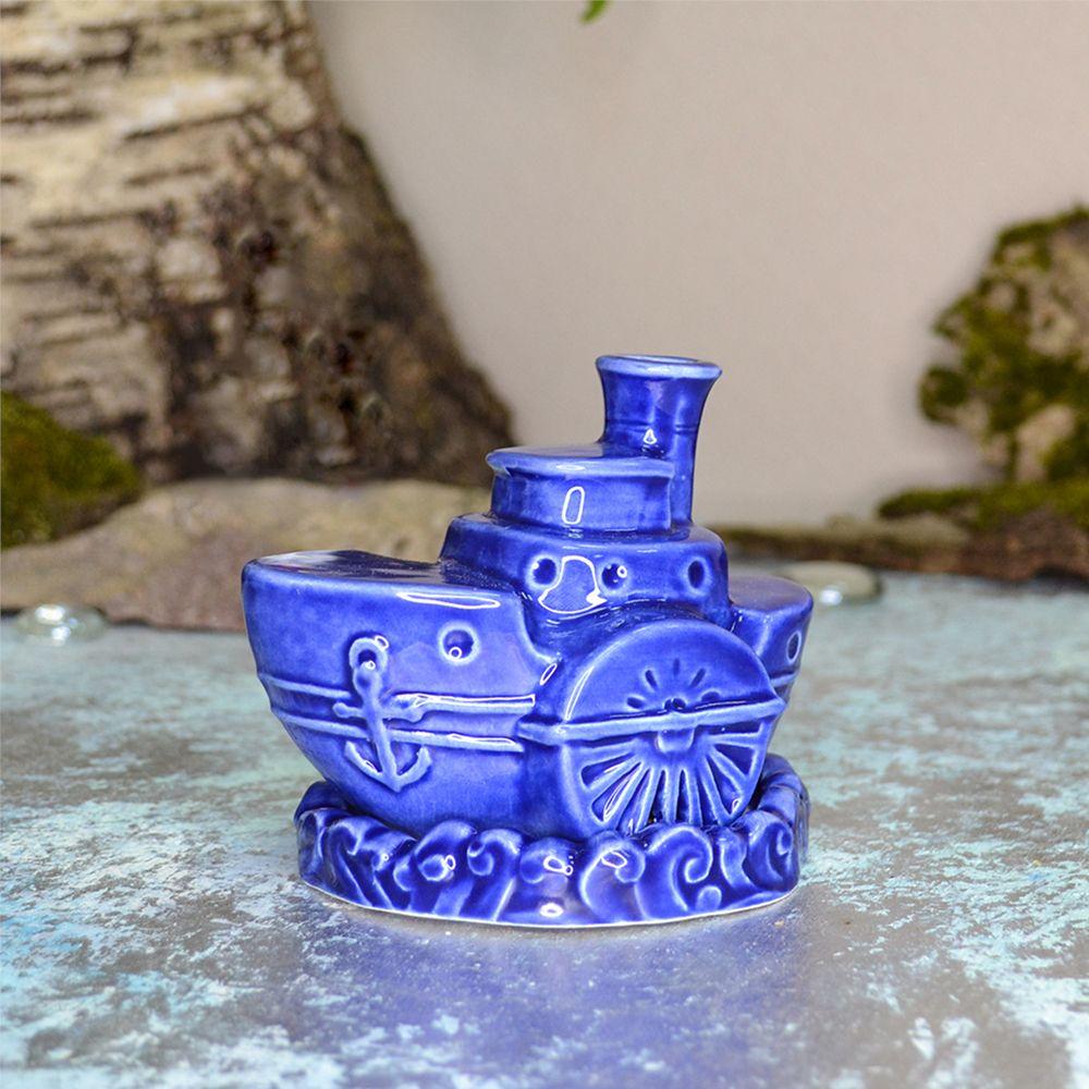 Пароход (ароматница) синяя фото