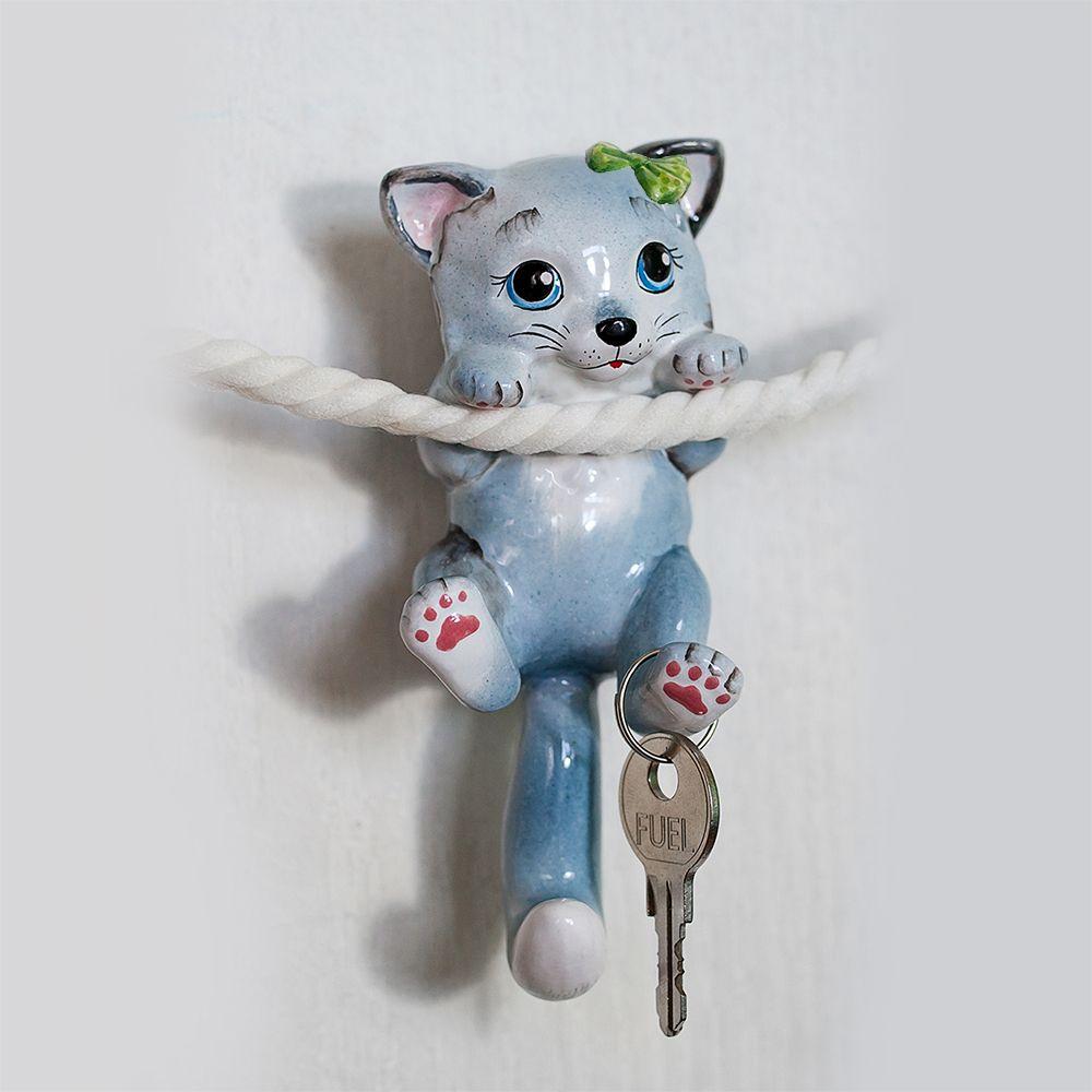 Кошка серая с бантиком (лапки и хвост-крючки) фото
