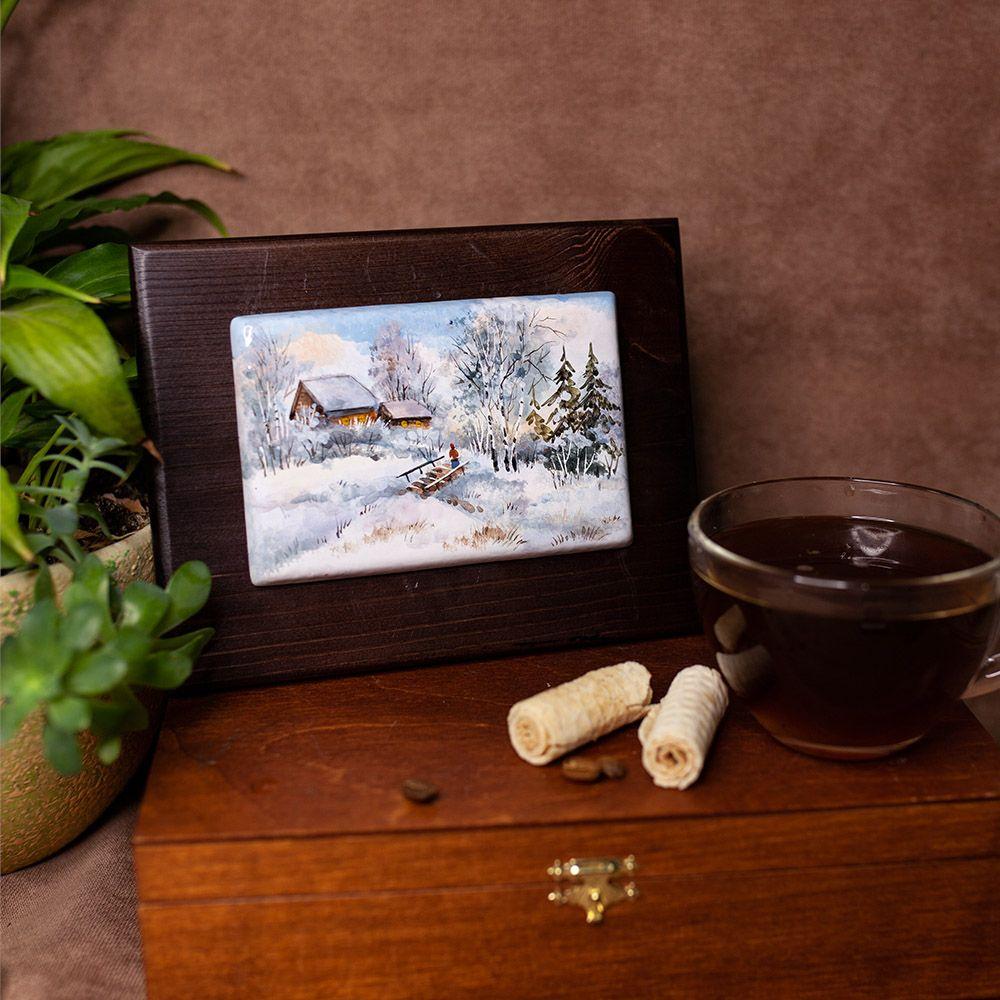 Пластина на деревянной плашке Деревенские мотивы фото