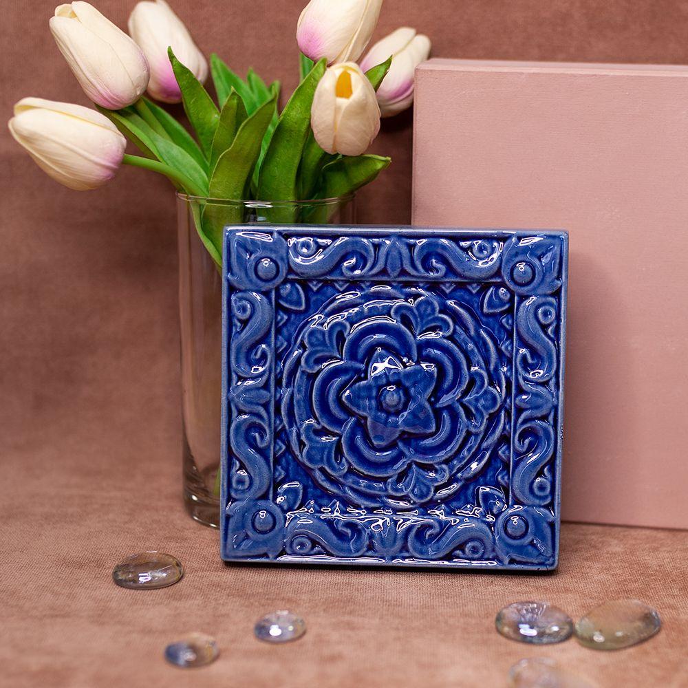 Изразец Чертополох одноцветный синий фото