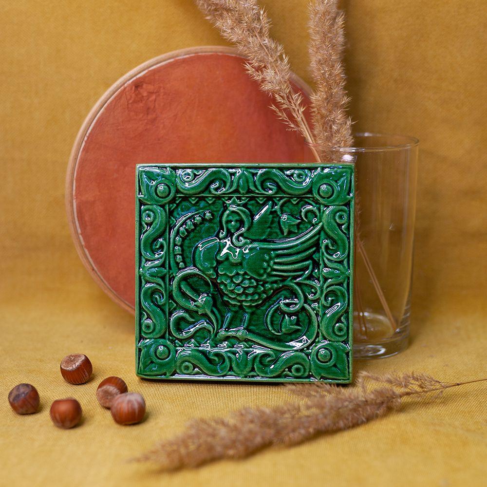 Изразец Сирин одноцветный зеленый фото
