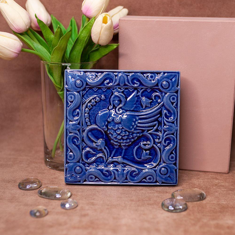 Изразец Сирин одноцветный синий фото
