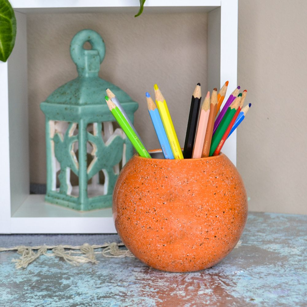 Ваза шар оранжевая фото