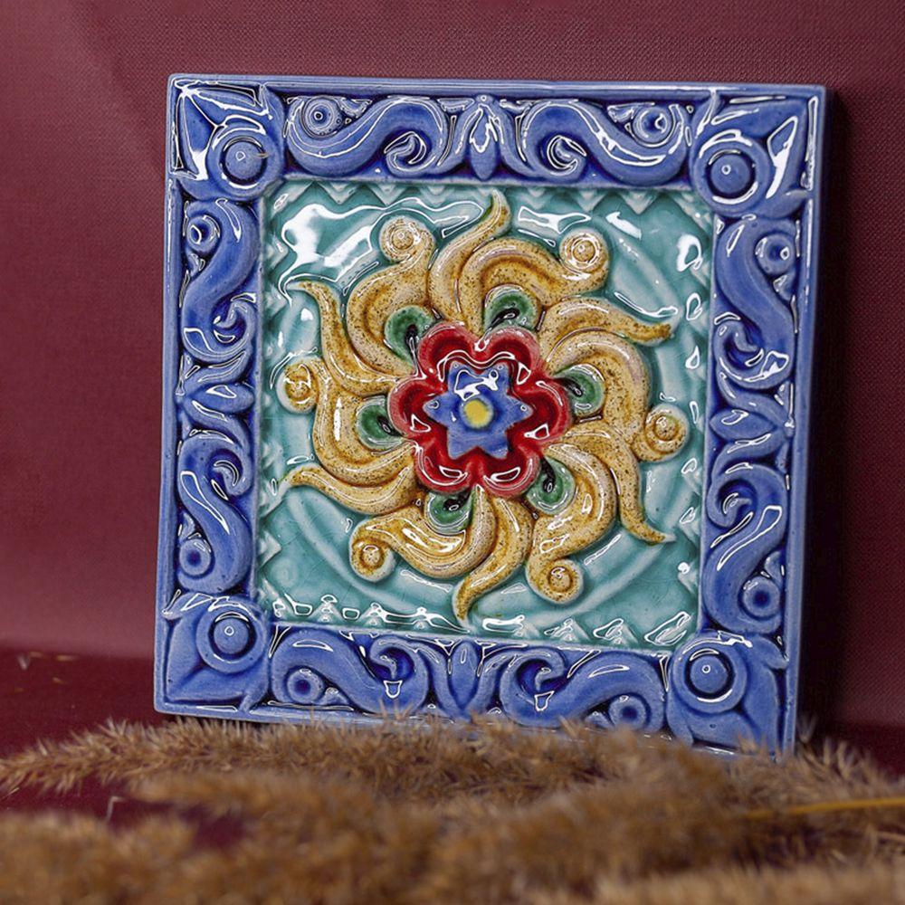 Изразец Лотос цветной синий фон фото