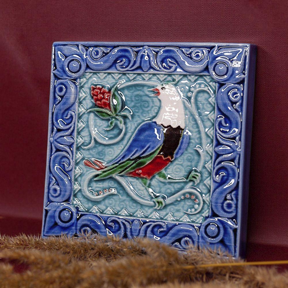 Изразец Соловей цветной синий фон фото