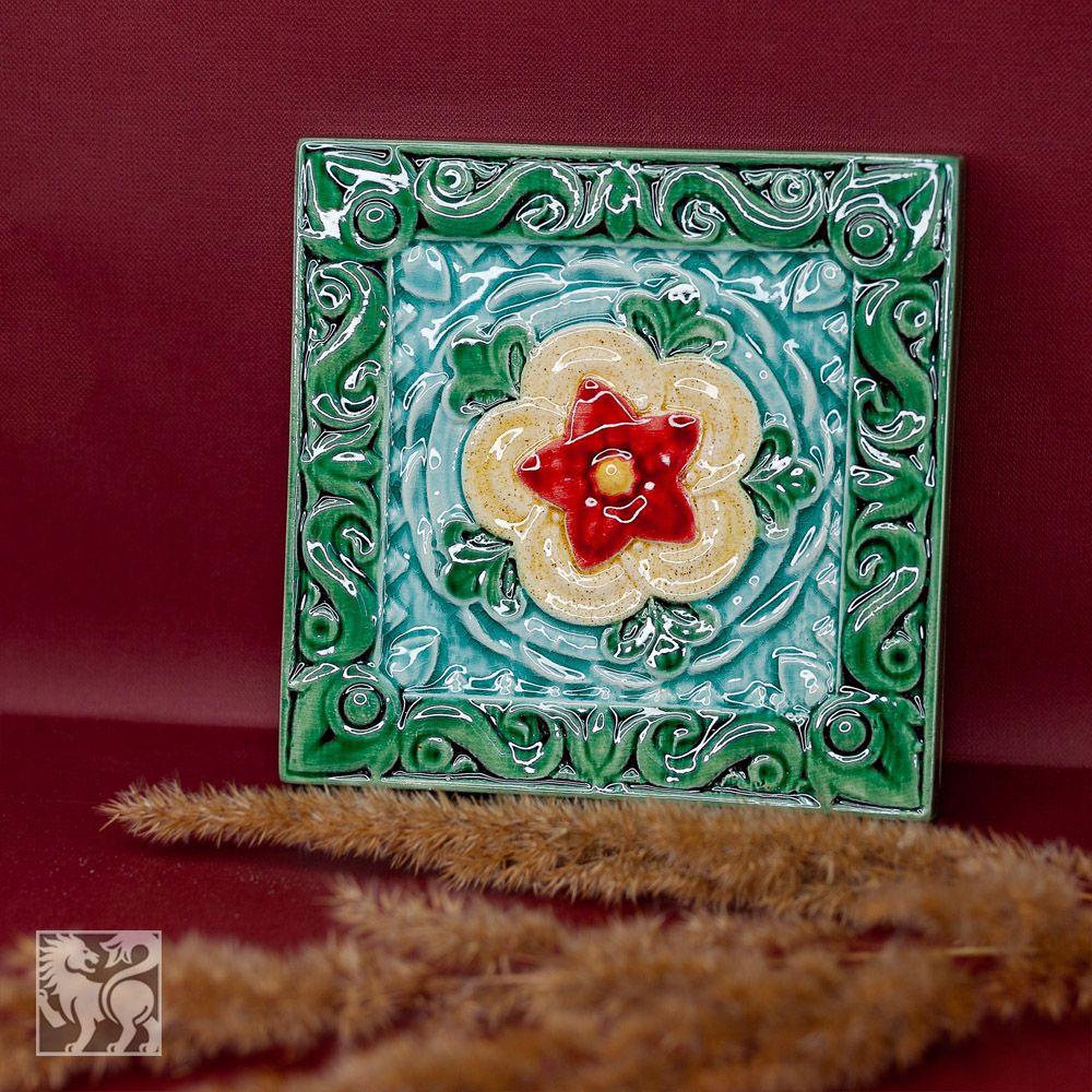 Изразец Чертополох цветной зеленый фон фото