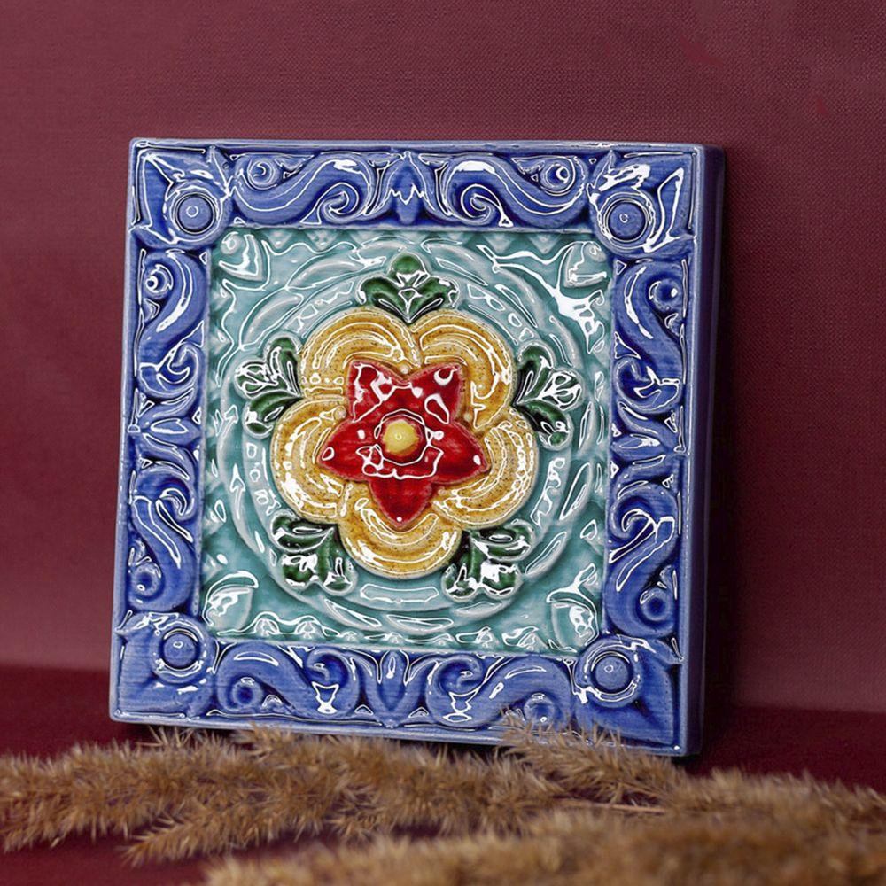 Изразец Чертополох цветной синий фон фото