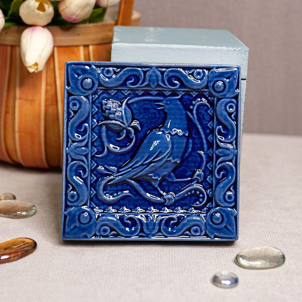 Изразец Соловей одноцветный синий фото